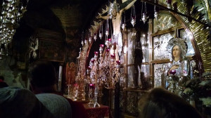 The Chapel of Calvary, where Jesus was crucified, inside the Church of the Holy Sepulchre