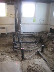 New plumbing in the women's room floor