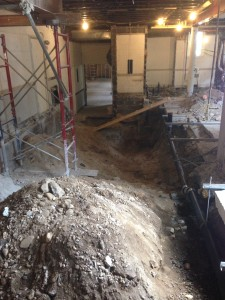 Steps to the Great Hall have finally been demolished and the new soil pipe has been installed to circumvent the elevator shaft area. Demo is nearly complete!