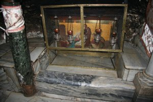 The manger inside the cave of the nativity