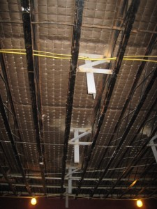 They have started welding steel braces in the Great Hall ceiling to hold the dropped ceiling.