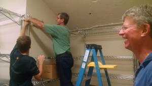 Then it was time to install all the Food Pantry shelves.