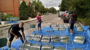 Friday night the big task was washing all 100 chairs.